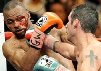 Joe Calzaghe in his last fight against Roy Jones Jr. in 2008