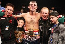 Joe Calzaghe with his Uncle Sergio, his two sons Connor & Joe and his father Enzo