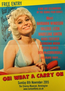 'Oh! What a Carry On' event poster, signed by Barbara Windsor