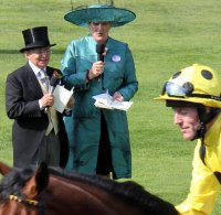 Willie Carson & Claire Balding watch jockey Kieren Fallon go by in the parade ring at Royal Ascot