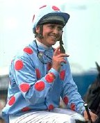 Willie Carson on Henbit after winning the 1980 Epsom Derby