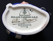 Willie Carson has signed the base of this 'Willie Carson' character jug