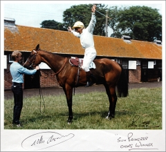 Signed photograph provided by Willie Carson for a charity auction
