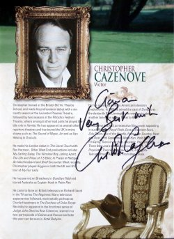 Christopher Cazenove has signed the programme for 'The Grass is Greener'