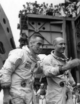 Tom Stafford & Gene Cernan board USS Wasp after Gemini 9 splashdown