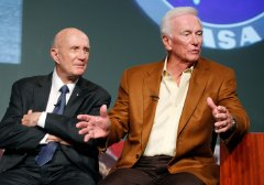 Tom Stafford & Gene Cernan at a news conference at NASA HQ in Washington DC marking the 40th anniversary of the first Moon landing
