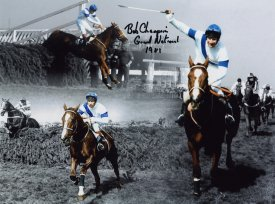 Bob Champion has signed this photograph of the 1981 Grand National