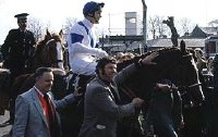 Aldaniti returning to the Winner's Enclosure after the 1981 Grand National