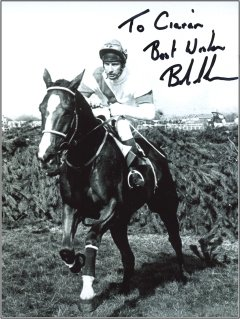 Signed photo of Bob Champion on Aldaniti during the 1981 Grand National