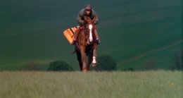 John Burke riding Aldaniti on Lambourn Downs, Berkshire in 'Champions'