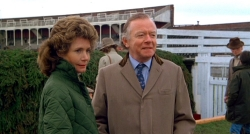 Ann Bell & Peter Barkworth as Aldaniti's owners Valda & Nick Embiricos in the film 'Champions' (1984)
