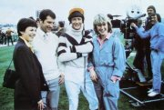 Jan Francis, Bob Champion, John Hurt & Jo Beswick (later married to Bob Champion) during filming for 'Champion