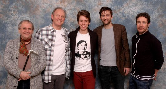 Sylvester McCoy, Peter Davison, Ciaran Brown, David Tennant & Paul McGann at the 'Project Motormouth' event, held at Slough in 2013