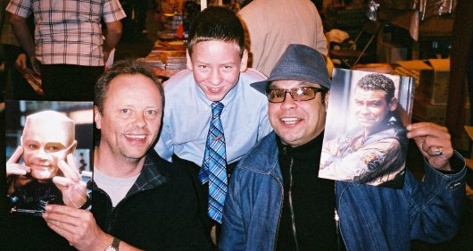 Ciaran Brown with Red Dwarf actors Robert Llewellyn & Craig Charles