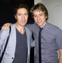 Paul McGann and Ciaran Brown outside the stage door of the Duchess Theatre