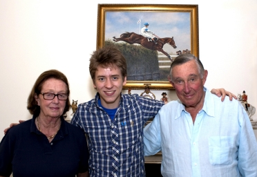 Ciaran Brown with Aldaniti's owners Valda & Nick Embiricos at Barkfold Manor