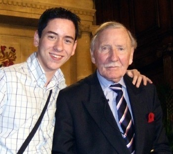 Ciaran brown with Leslie Phillips at Pinewood