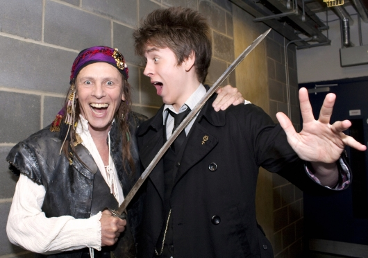 Ciaran Brown meets Paul Nicholas (as the Pirate King in 'The Pirates of Penzance') at the Milton Keynes Theatre in May 2010