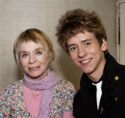 Ciaran Brown with Susannah York after her performance in 'Quartet' at the Nottingham Theatre Royal in July 2010