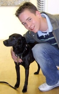Ciaran Brown with Julian Clary's dog Valerie