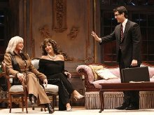 Linda Evans, Joan Collins & Joe Farrell on stage in the play 'Legends'