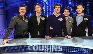 Robin Cousins with his four nephews on 'All Star Family Fortunes' in March 2012