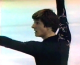 Robin Cousins at the end of a skating programme in the Winter Olympics at Lake Placid