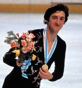 Robin Cousins with  his Olympic Gold Medal at Lake Placid in 1980