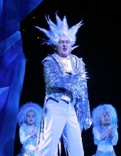 Robin Cousins as Jack Frost in the pantomime 'Santa Claus and the Return of Jack Frost' at the Mayflower Theatre in Southampton
