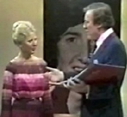 Pamela Davis with Eamonn Andrews on 'Robin Cousins - This Is Your Life'
