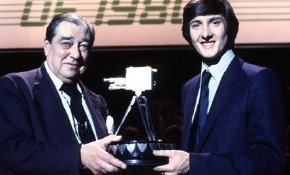 Robin Cousins receives the 'BBC Sports Personality of the Year'  trophy from John Arlott in 1980