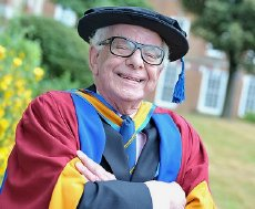 Barry Cryer after receiving his D.A. degree from Leeds University