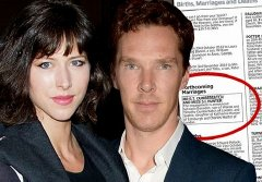 Sophie Hunter & Benedict Cumberbatch and their engagement announcement in 'The Times' newspaper