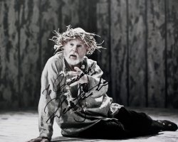 Derek Jacobi has signed this photograph of him as King Lear
