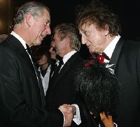 Ken Dodd meets Prince Charles after the Royal Variety Performance in 2006