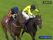 Dolly Penrose (yellow silks) beats Mudawin at Haydock racecourse on 18th July 2009