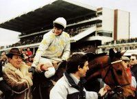 Richard Dunwoody on Charter Party after winning the 1988 Cheltenham Gold Cup