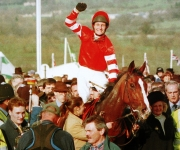 Richard Dunwoody on Florida Pearl after winning the Royal & Sun Alliance Novice Chase at Cheltenham in 1997