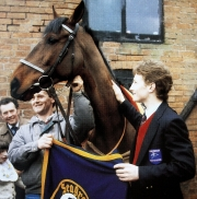 Richard Dunwoody with West Tip after winning the 1986 Grand National at Aintree