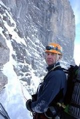 Sir Ranulph Fiennes contemplates the North Face of the Eiger