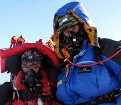 Sir Ranulph Fiennes and Sherpa Lhakpa Thundu on the summit of Mount Everet on 21st May 2009