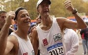 Mike Stroud and Sir Ranulph Fiennes at the end of the New York Marathon
