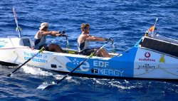 Ben Fogle & James Cracknell in their boat 'The Spirit of EDF Energy'