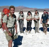Ben Fogle with some of his team members during his Andean trek in 2008