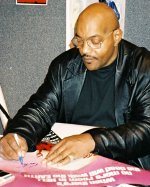 Ken Foree signing 'Dawn of the Dead' poster