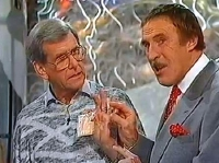 Bruce Forsyth with Bob Holness in 'You Bet!' in 1989