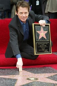 Michael J. Fox with his Hollywood 'Walk of Fame' star