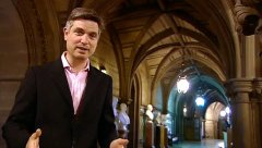 Jonathan Foyle in Manchester Town Hall for his TV series 'People's Palaces'