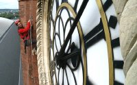 Jonathan Foyle examines the clock tower of St Pancras Station in 'Climbing Great Buildings'