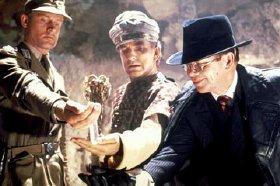 Paul Freeman with Wolf Kahler and Ronald Lacey in 'Raiders of the Lost Ark'